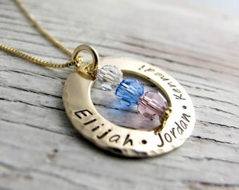 Hand Stamped Gold Mother's Necklace, Grandmother Necklace, Kids Name Necklace, Birthstone Necklace, Mother's Day Gift
