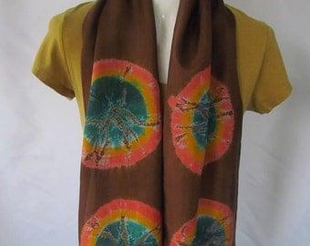 Silk Shibori Scarf Green Orange and Brown