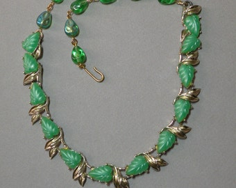 Vintage Lucite Leaf Necklace