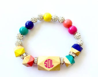 Personalized Bracelet Graduation Rainbow Bracelet Statement Hand Painted Wood Bracelet Geometric Bead Bracelet Word Bracelet Cause Bracelet