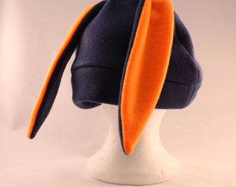 Navy blue bunny rabbit hat with short ears
