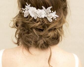 "Beaded Hair Comb, Bridal Comb, Bridal Accessories - ""Erica"" Vintage Beaded Bridal Comb Large"
