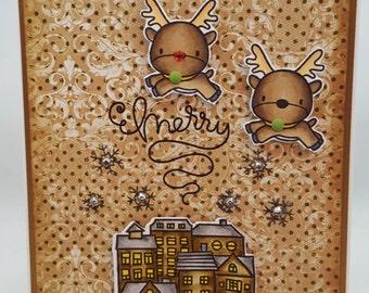 Christmas Reindeer Rudolph - Blank NoteCard, Greetings Card, Handmade Card
