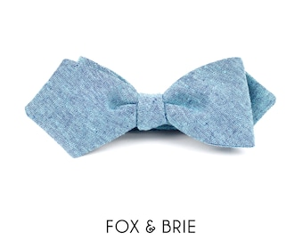 Ocean Chambray Pointed Bow Tie
