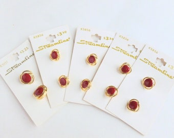 """Red and Gold Plastic Shank Round Shirt Buttons Lot 1/2"""" and 5/8"""" Diameter Size 20 and Size 24 Unused on Cards NOS"""
