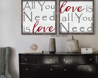 All You Need Is Love Wood Sign |  Framed Wood Sign| love sign | rustic home decor| wood sign| rustic sign| Custom Sign