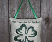 Irish Wish Embroidered Green Burlap Doorknob Hanger, St. Patrick Day, Irish, Holiday Decoration, Fabric Plaque, Fabric Ornament