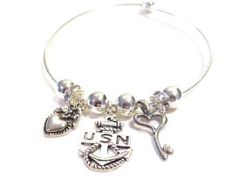 Navy Bracelet, Silver Bangle, U.S. Navy Charm Bracelet, Girlfriend Gift, Special Sailor, Key to Heart Charm, Mom Gift, Navy Wife Bracelet