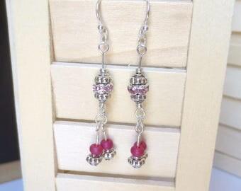 Pink Crystal Earrings - Rose Glass Beads - Silver Dangle Earrings - Swarovski Crystal Rondelles - Girlfriend Gift - Statement Earrings