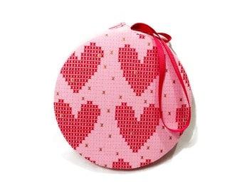 XO Heart Macaron Wristlet Clutch Wallet Large Medium or Small - The Barbi