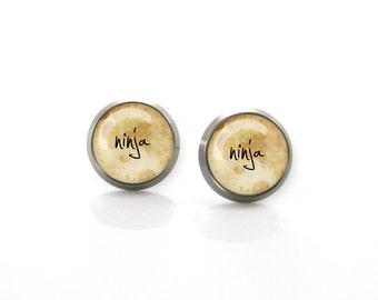Ninja Vintage rustic testament Titanium Post Earrings | Hypoallergenic Earring Stud | Titanium Earring Stud | Sensitive jewelry post studs