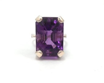 Amethyst Genuine Upcycled Emerald Cut Purple Gemstone Sterling Silver February Birthstone Ring