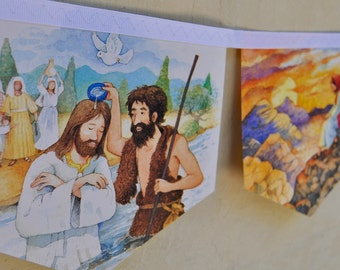 STORY OF JESUS Banner Religious Bible Christian Vintage Little Golden Book Bunting