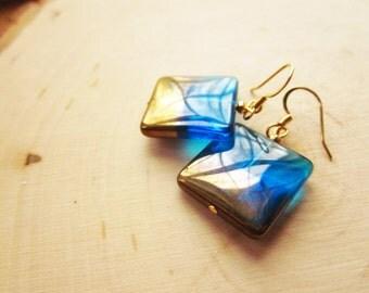 Handmade Blue Earrings Blue Lampwork Earrings Turquoise Blue Earrings Blue Dangle Earrings Blue Gold Earrings Turquoise Blue Lampwork