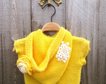 Upcycled Girls Jacket Baby Knit Top Hoodie Yellow Sweatshirt Upcycled Clothing Recycled Clothes 3-6 Month Sweater Flower Lace Boho Hippie