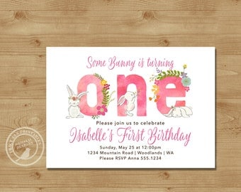 First  Birthday Invitation, Fun to be One, Girl First Birthday Invite |  Bunny Rabbit 1st Birthday Digital | Printable  | 1516pink