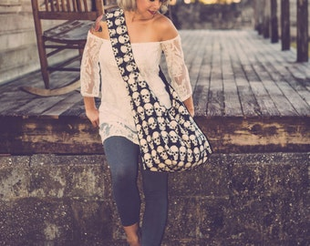 Skull Bag - Crossbody Hobo Bag - Large Crossbody Bag for Women - Skull Purse - Vegan Bag - Bohemian Bag - Boho Bag - Hippie Bag - Slouch Bag