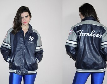 VTG 1990s MLB Baseball Full Leather New York Yankees Bomber Jakcet 90s  -  Leather Jackets - Vintage Yankees  - W00568