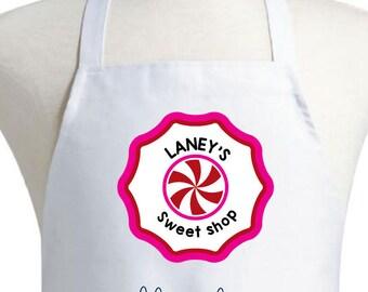 Personalized Children's Apron Child  Custom Children's Apron  Monogrammed Apron Toddler Apron Sweet Shop Apron Candy Apron