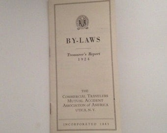 Commercial Travelers Utica NY 1924 Treasurers Report By Laws Brochure Ad Vintage Insurance