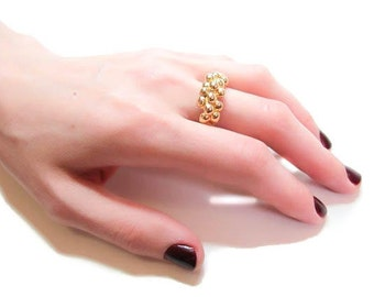 Silver, gold, and hematite plated pomegranate, granulated ring ON SALE