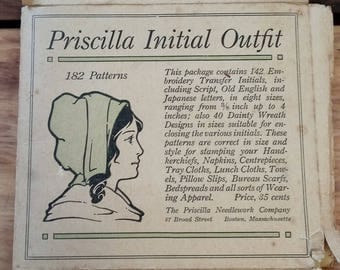 Antique Transfers for Sewing Modern Priscilla Initial Outfit Letter H 1910's Vintage Sewing Pattern Ephemera Embroidery Farmhouse Primitive