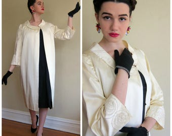 Vintage 1960s Ivory Satin Opera Coat / 60s Bridal or Wedding Coat Swing Style, Beaded /  AS IS M/L