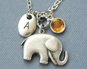 Elephant Necklace, Initial Birthstones, Personalized Initial, Elephant Jewlery,Lucky Charm Necklace, Animal Necklace,Best Friend Necklace