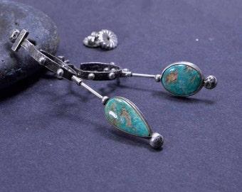 Turquoise Earrings, Asymmetrical Earrings, Royston, Boho, Sterling Silver, Silversmith