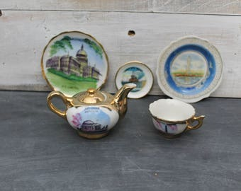 Souvenir Tea Cup, Saucers and Teapot, Mini Tea Cups, Petite Tea Cups
