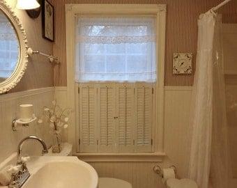 Sheer Bedroom Window Curtain, Ivory Linen Lace Curtain,  French Style Ivory Lace Curtain, Off White Net Curtain
