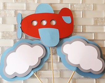 Flying High Airplane and Clouds Centerpiece Set or Table Decorations in Red and Blue