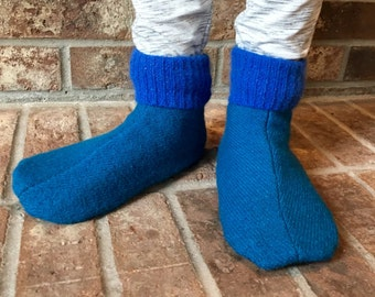 Wool Slippers, Kid's Large, Grippy Bottoms, Shoe Size  13 1/2 to 2 1/2, Age 6  1/2  to 8  1/2 years, blue, Ready to Ship