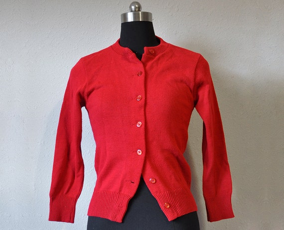 Bright Red 1950s Cardigan Preppy School Retro Grease Acrylic  XS Women Sweater Button Up