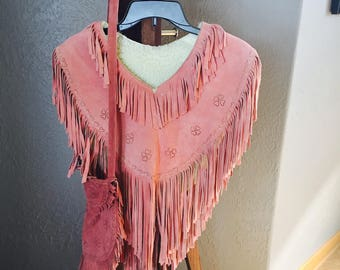 Fringed Leather Suede Poncho, Pink Leather, Matching Purse, Sherpa Lined, Small To Medium