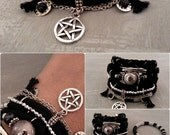 Black Silver Pentagram Bracelet, Black Gypsy Bracelet, Bohemian Bracelet, Wiccan Jewelry, Pentacle Bracelet, Pagan Bracelet, Witch Jewelry