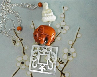 Vintage Ivory Buddha, Elephant Ojime Netsuke and Mother of Pearl Carving with Sterling Silver Chain