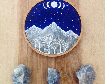 Made To Order, Original Hoop Painting, mountains and moon phases, nursery art, home decor
