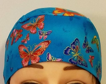 Bright Blue Chemo Cap or Skull Cap with Butterflies, Handmade, Alopecia, Surgical Cap, Do Rag, Hats, Hair Loss, Head Wrap, Helmet Liner, cap