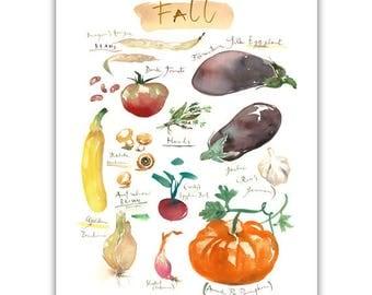 Fall vegetable art print, Heirloom vegetables, Watercolor painting, Kitchen art, Food art, Garden illustration, Home decor, Seasonal poster