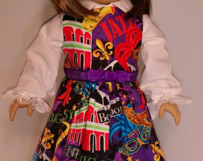 Black dress with new Orleans icons for Mardi Gras parade dress and blouse set fits 18 inch dolls like American girl,