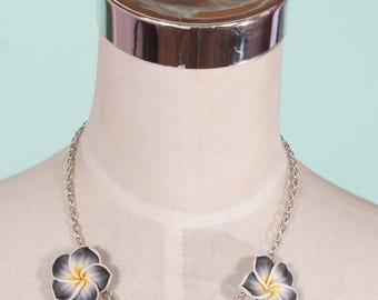 Tiki Black Frangipani Necklace