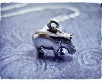 Silver Hippo Necklace - Sterling Silver Hippo Charm on a Delicate Sterling Silver Cable Chain or Charm Only