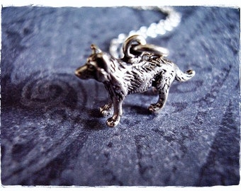 Tiny Silver Wolf Necklace - Sterling Silver Wolf Charm on a Delicate Sterling Silver Cable Chain or Charm Only
