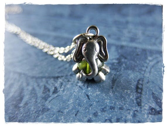 Green Elephant Necklace - Antique Pewter Elephant Charm on a Delicate Silver Plated Cable Chain or Charm Only