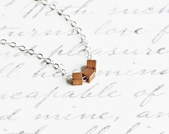 Tiny Brass Cube Bead Necklace on Sterling Silver Chain, Two Tone, Dainty Jewelry