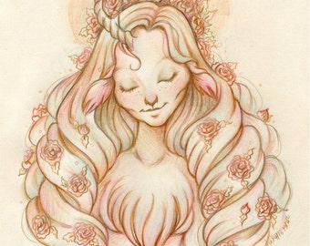 Serenity - Original Drawing on Moleskine ORIGINAL OOAK Art