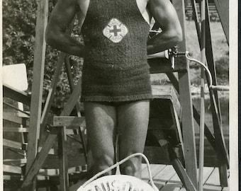 Handsome 1920s LIFEGUARD at DENISON BATHS Salem Oregon Photo 1924