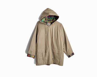 Vintage Rain Jacket with Plaid Flannel Lining / Tan Rain Jacket - size large