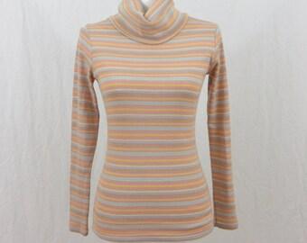 Vintage Pastel Turtleneck, Striped Turtleneck, Glitter Shirt, Size XS-Small, Kawaii, Tumblr, Tumblr Clothing, 70's Clothing